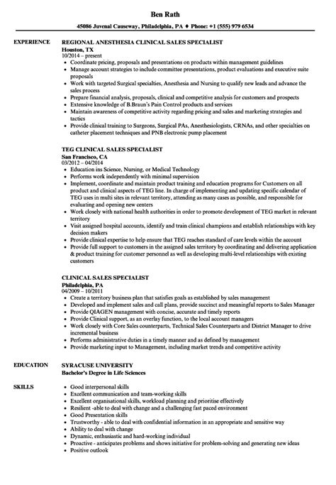 Clinical Resume Exles by Clinical Sales Specialist Resume Sles Velvet