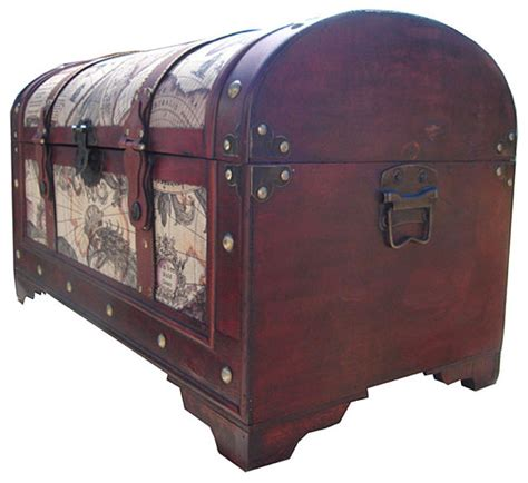 world map decorative wooden storage trunk traditional