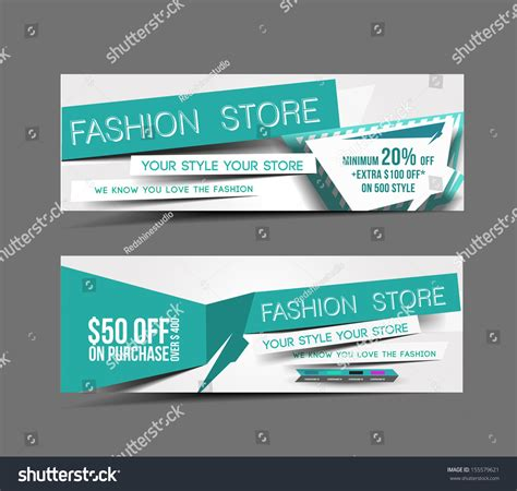 Fashion Store Web Banner Header Layout Stock Vector