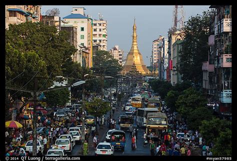 Picture/Photo: Street with busy traffic leading to Sule ...