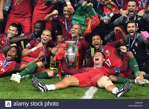 Players Of Portugal Celebrates After Winning The Uefa Euro