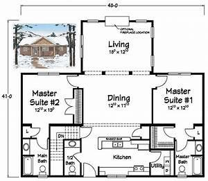 Two Master Suites! Ranch Plans Pinterest