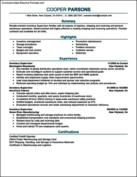 Supervisor Resume Templates by Supervisor Resume Templates Free Sles Exles
