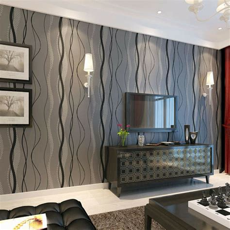 Striped Wallpaper Living Room Ideas by Black Grey Wave Striped Wallpaper Stripe Curve Feature