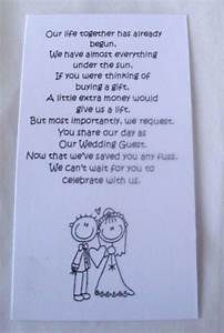50 small wedding gift poem cards asking for money bride With wedding gift website money