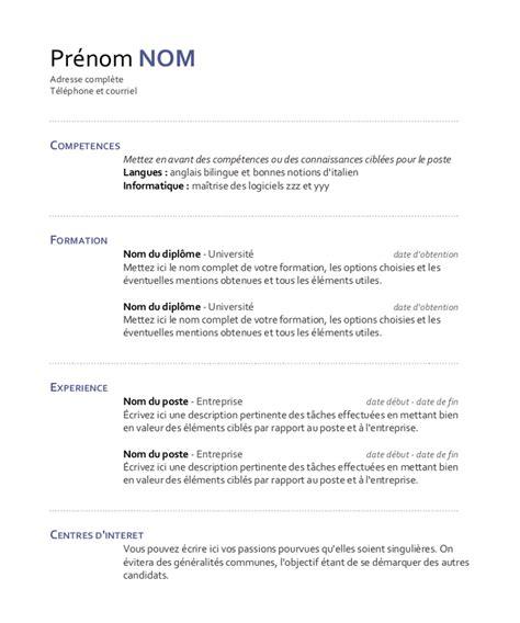 Modele De Cv Word 2015 by Cv Nouveau Modele Cv Exemple Word 2015 Jaoloron