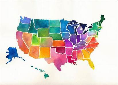 States United Map Watercolor Bright Usa Canvas