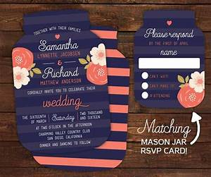 17 best ideas about coral country weddings on pinterest With mason jar shaped wedding invitations