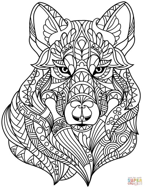 Wolf Head Zentangle coloring page from Zentangle category