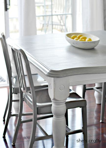 grey kitchen table and chairs she s crafty gray and white painted kitchen table