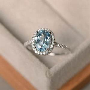 march birthstone aquamarine ring sterling silver halo With gemstone wedding rings