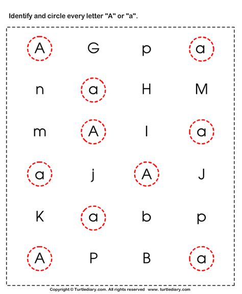 Identifying Lowercase And Uppercase Letter A Worksheet  Turtle Diary