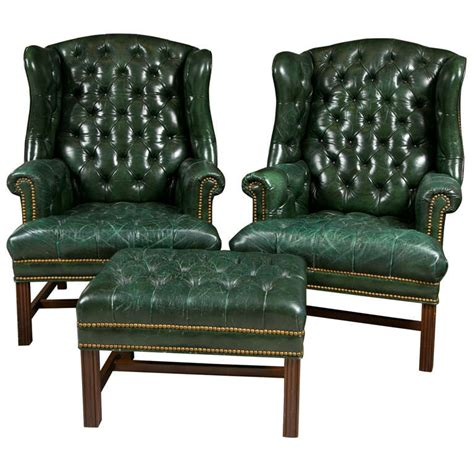 1950 s green leather tuffted wing chairs and bench at 1stdibs
