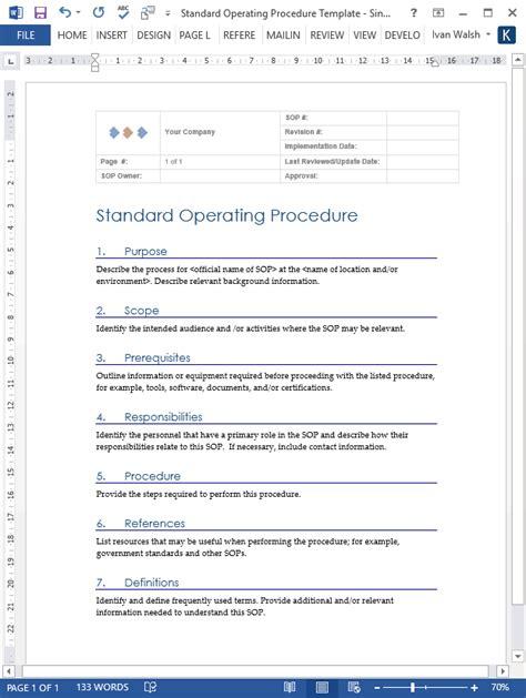 standard operating procedure sops templates templates