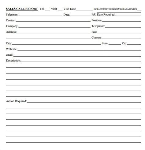 sales call report sample  examples format
