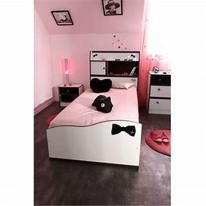 Lit Blanc Fille : pretty lit enfant 90x190 cm blanc noir achat vente structure de lit pretty lit 90x190 cm ~ Teatrodelosmanantiales.com Idées de Décoration