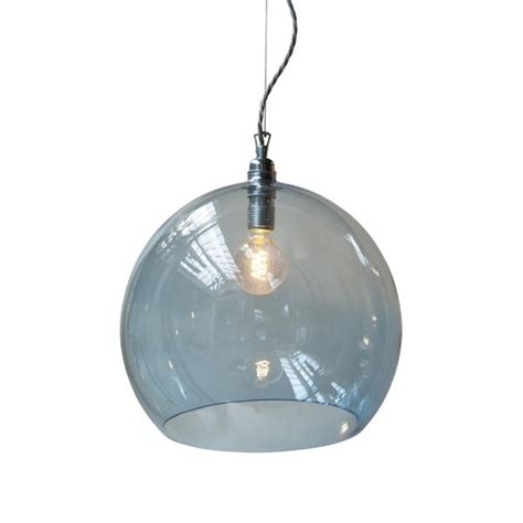 transparent blue glass globe pendant light on drop