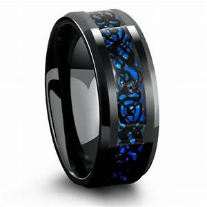 8mm Black Celtic Tungsten Wedding Band With Blue Carbon