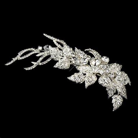 eden rhinestone silver leaf hair clip elegant bridal hair accessories