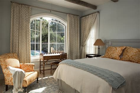 dazzling swing arm curtain rod in bedroom mediterranean