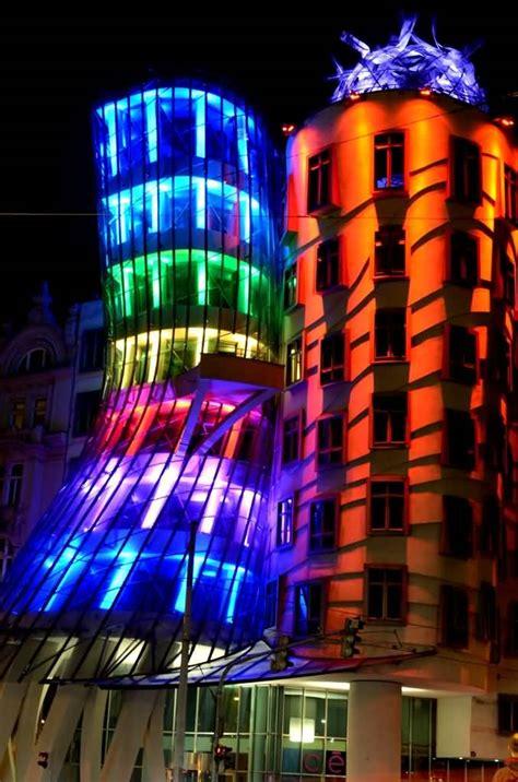colorful lights   dancing house  night  prague