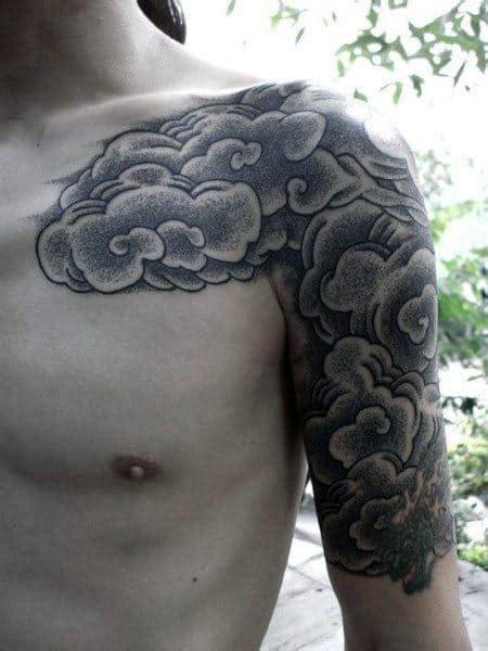 tattoo cloud japanese tattoos sleeve shoulder clouds half designs chest quarter smoke sky mens bicep ink alucky kenji grey tribal