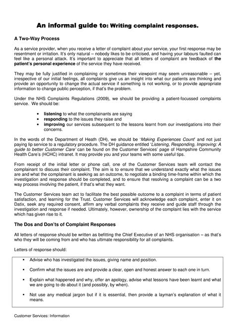 response  medical complaint letter templates