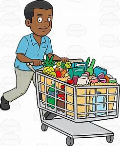 A Black Man Smiles After Checking Out Of A Supermarket ...
