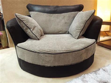 Dino Jumbo Black & Grey Corner Sofa With Matching Swivel
