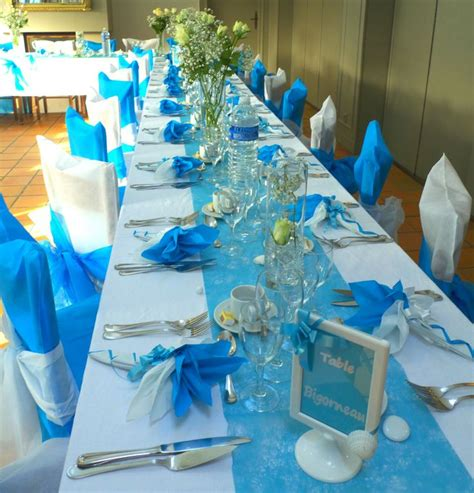 d 233 co de table en bleu turquoise et blanc deco de table