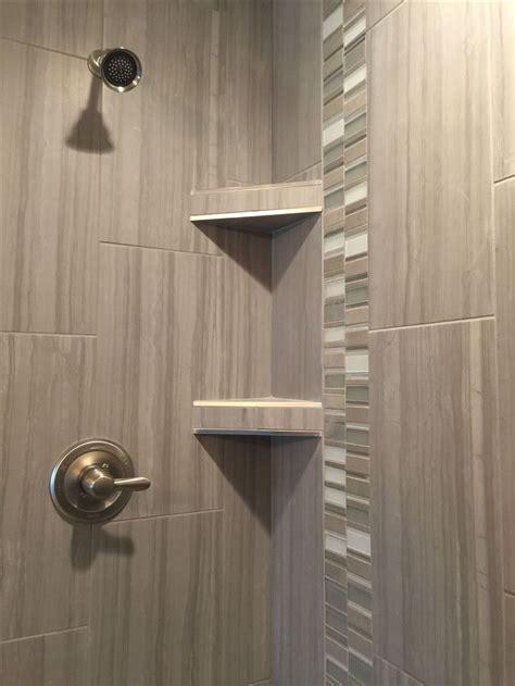 custom tiled shower    porcelain tile install