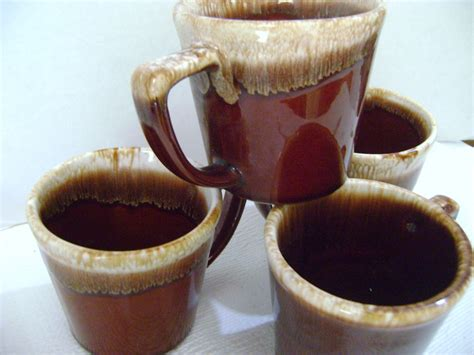 Shop with afterpay on eligible items. VINTAGE McCOY USA POTTERY BROWN DRIP COFFEE MUGS D Slant ...