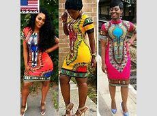 Women Traditional African Print Dashiki Dress Short Sleeve
