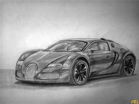 Black Bugatti Veyron Pencil Drawing-step By Step