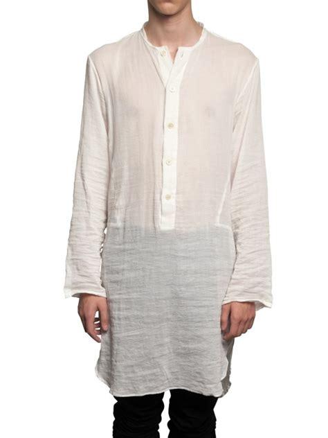 lyst ann demeulemeester cotton gauze long shirt  white