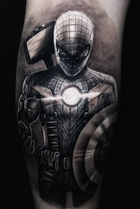 tattoo uploaded  robbie flaviani spiderman captainamerica suit  shield hulk arm