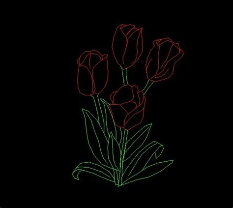 tulip flowers plant side view elevation  dwg block
