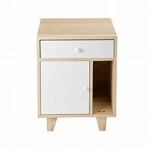 Table De Nuit Maison Du Monde : 1 door 1 drawer bedside table in white paulownia spring maisons du monde ~ Teatrodelosmanantiales.com Idées de Décoration