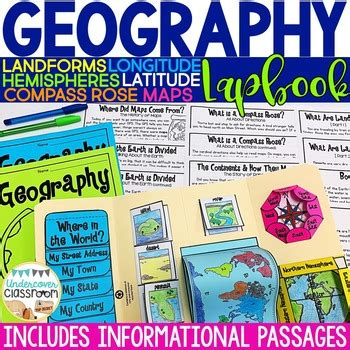 geography lapbook interactive kit maps and globes map skills tpt