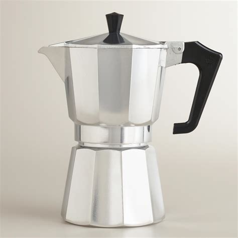 silver 6 cup stovetop moka pot espresso maker world market