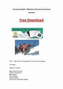 2007 2008 Polaris Iq Factory Service Manual Download By