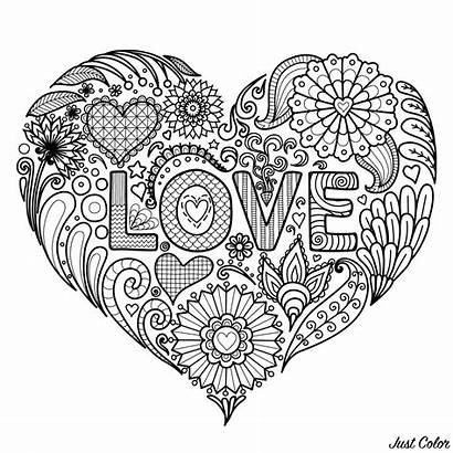 Heart Flowers Coloring Text Valentine Valentines Shape