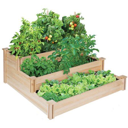 greenes fence raised garden bed greenes fence 4 x 4 x 21 quot 3 tiered cedar raised garden