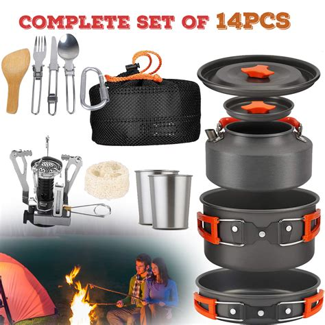 camping kit cookware pot mess cooking cook sets backpacking backpack camp pan utensils campfire 14pcs walmart piece portable outdoors stove