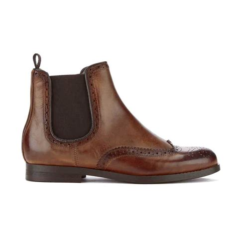 hudson london womens asta leather brogue chelsea boots