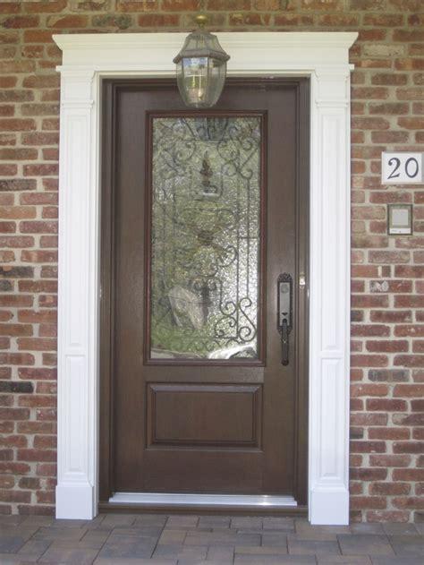 Dark Brown Color Exterior Wood Door With Black Metal