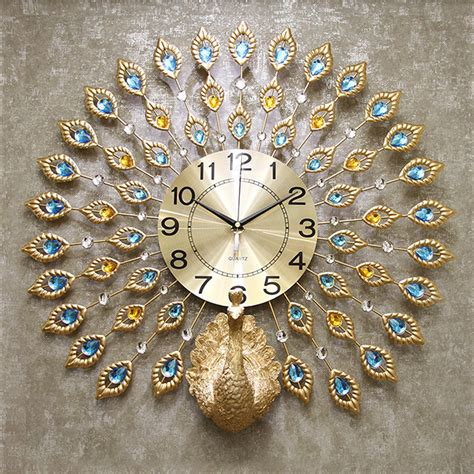 exquisite gold peacock shaped decorative wall clocks