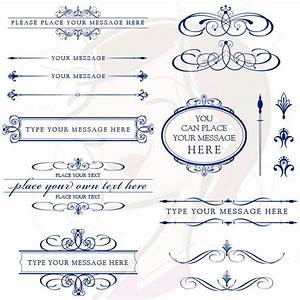 vector clipart retro navy blue calligraphy flourish With blue line wedding invitations