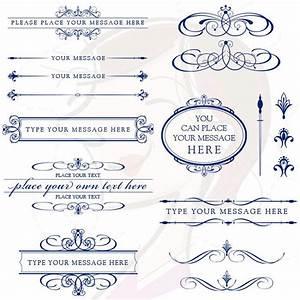 vector clipart retro navy blue calligraphy flourish With wedding invitation text divider