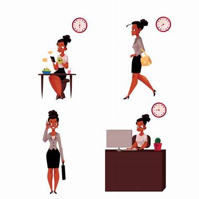 African American Clip Illustrations Businesswoman Morning Secretary